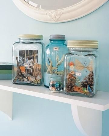 Memory jars. Place rid bits from your travels to the beach or any trip:)
