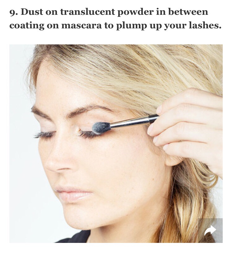 The translucent powder helps grip the mascara in between coats, leaving you with fuller lashes. Try out this tip by following this tutorial.   --> http://www.cosmopolitan.com/style-beauty/beauty/how-to/a16435/how-to-get-sexy-voluminous-lashes/