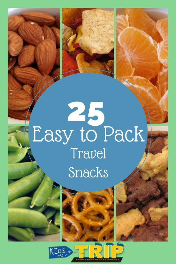 Pretzels teddy grahams almonds tangerines apple slices goldfish animal crackers chips cookies carrots snap peas etc. they are all good snacks to pack for a long car or plane ride