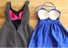Having a problem with a backless dresses? Sew a discount bra into the inside of it, problem solved !!