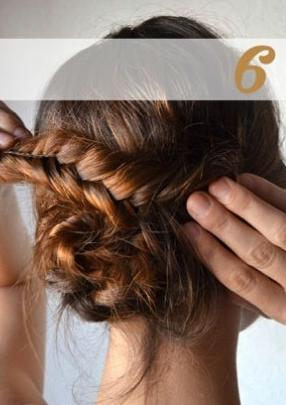 Twist other braid around other braid and secure both in place with bobby pins.