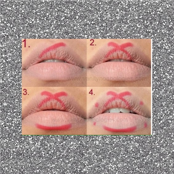 Step one: Use a red lip liner (the shade you want your lips) and make an outline shown in the image☺️