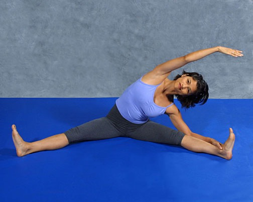 Straddle stretch: This helps a lot and works with different levels of flexibility (you could even do this whilst watching TV??) Do for around 30 seconds leaning to each side.