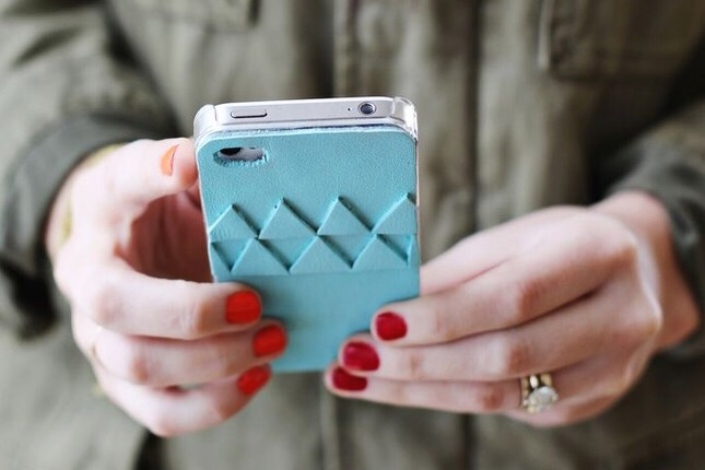 4. Geometric Leather Case: For something with a little more dimension, this geometric leather back is cool option. We love the light blue tone.