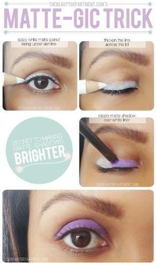 18. Prime your eyes with white eyeliner or eyeshadow to really make your colorful shadows and liners stand out. Prime your eyes with white eyeliner or eyeshadow to really make your colorful shadows and liners stand out.