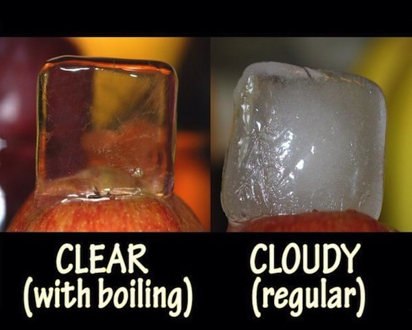 Boil water for crystal clear ice!