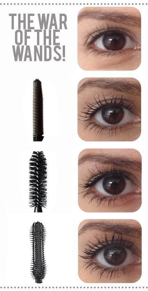 What different mascara wands do to your eyelashes! Press too see full picture!