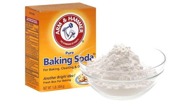 Pour 2 1/2 tablespoons of baking soda into a small bowl