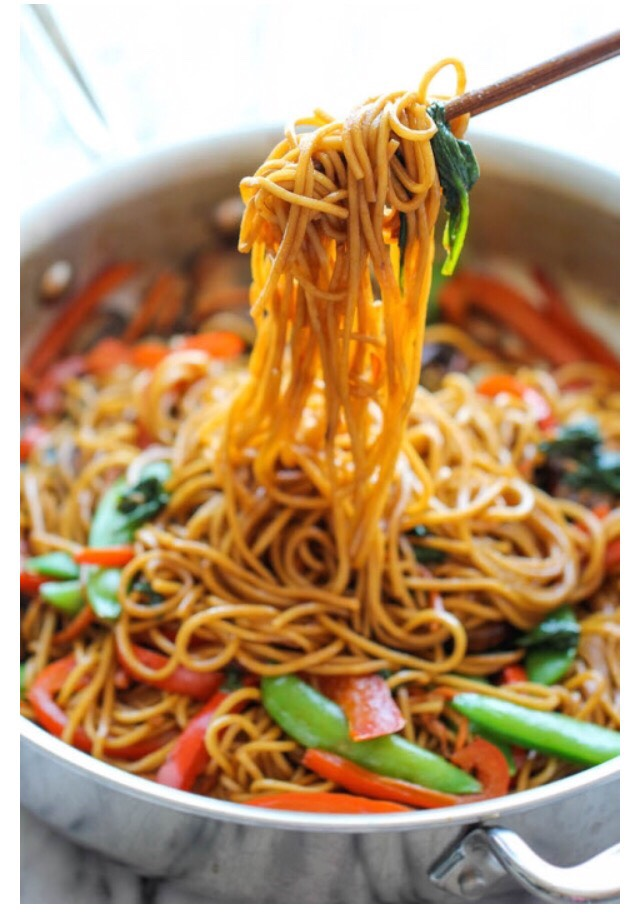 Stir in egg noodles and soy sauce mixture, and gently toss to combine.  Serve immediately.