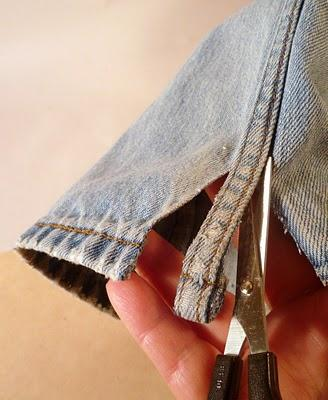Cut the inseam from a pair of old jeans...