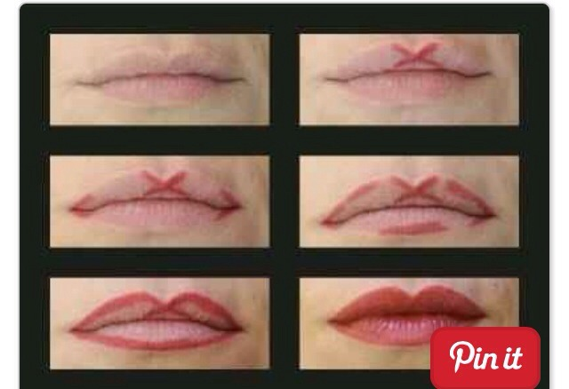 Apply your lip liner like this to get an even Cupid's bow shape