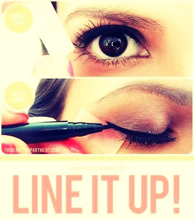 •Use scotch tape to create the perfect winged liner.