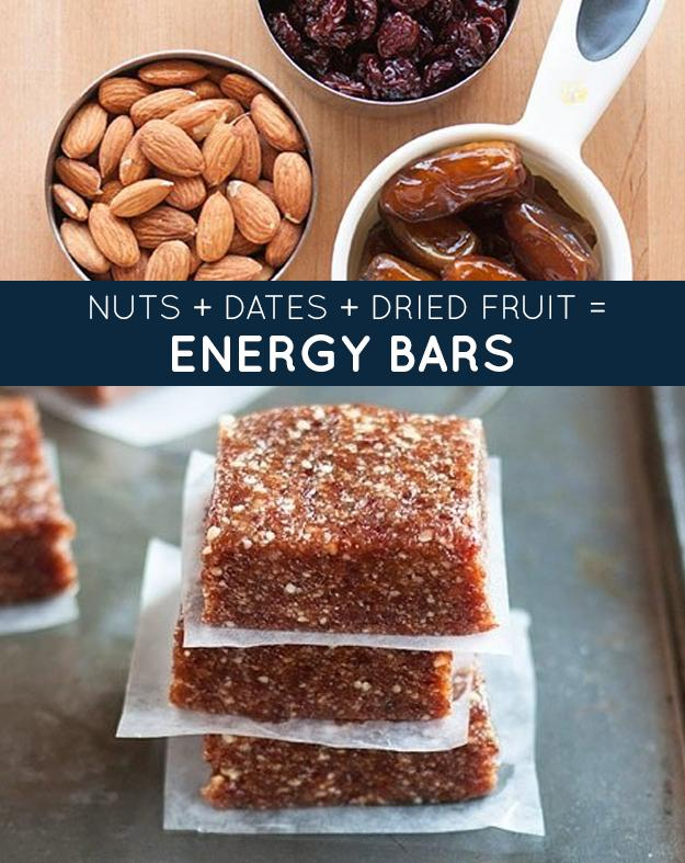 ENERGY BARS: 1 cup nuts 1 cup dried fruit 1 cup (12-15 whole) dates, pitted Combine in a food processor and press into a baking dish to chill. Cut into small squares