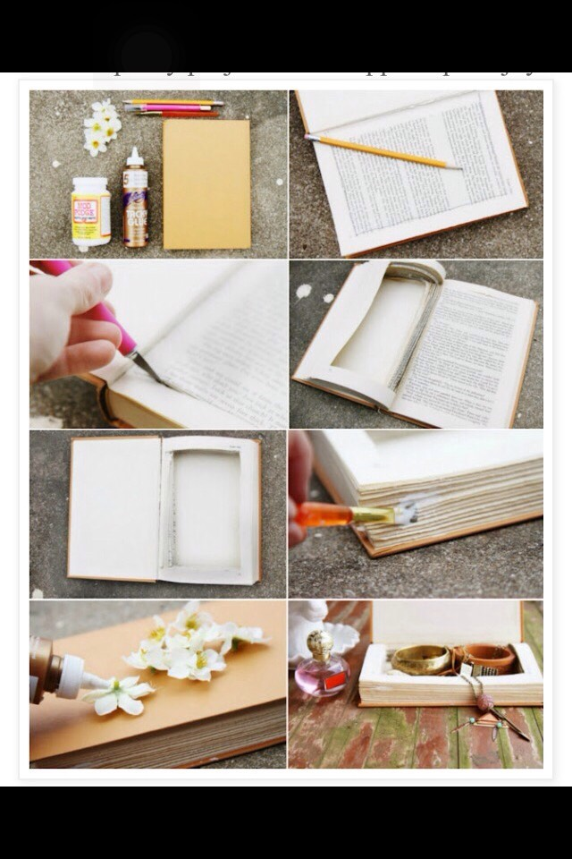1.outline in book where you will cut then cut out 2.glue all pages on outer rim 3. Decorate Then your finished!
