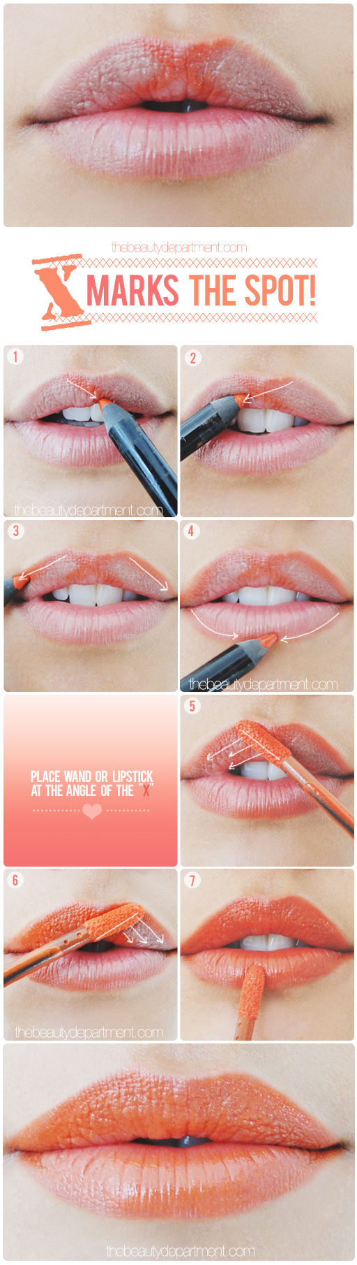 "6. If you're not into lip liner, master your lipstick application by drawing an ""X"" in the center of your top lip.  A defined Cupid's bow can quickly make lips look fuller."
