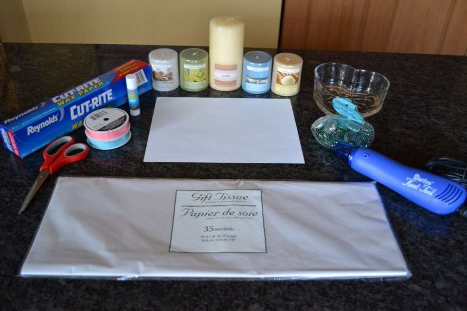 What you will need:  🔹Tissue paper  🔹Printer paper  🔹Candle  🔹glue stick 🔹Scissors  🔹Candle  🔹wax paper  🔹Heat tool (blow drier)