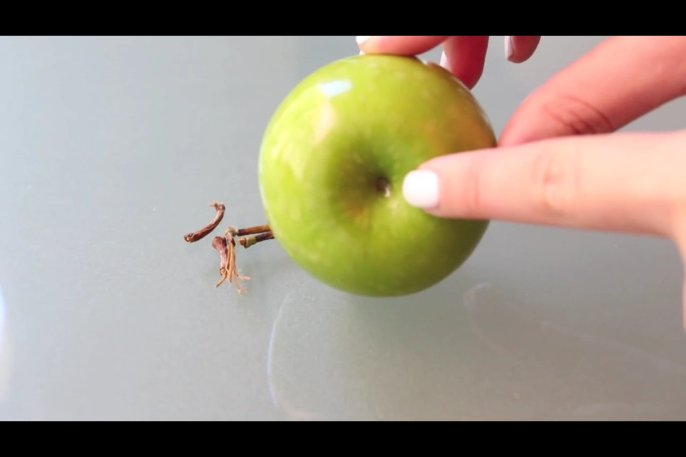Remove stem from apple.
