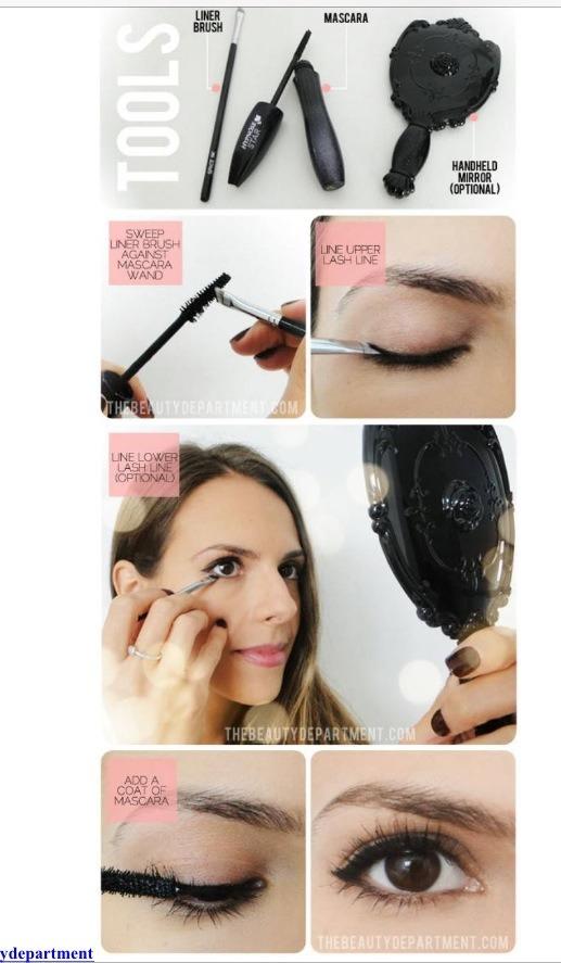 Add mascara to any eyeliner brush for an easy eyeliner look.