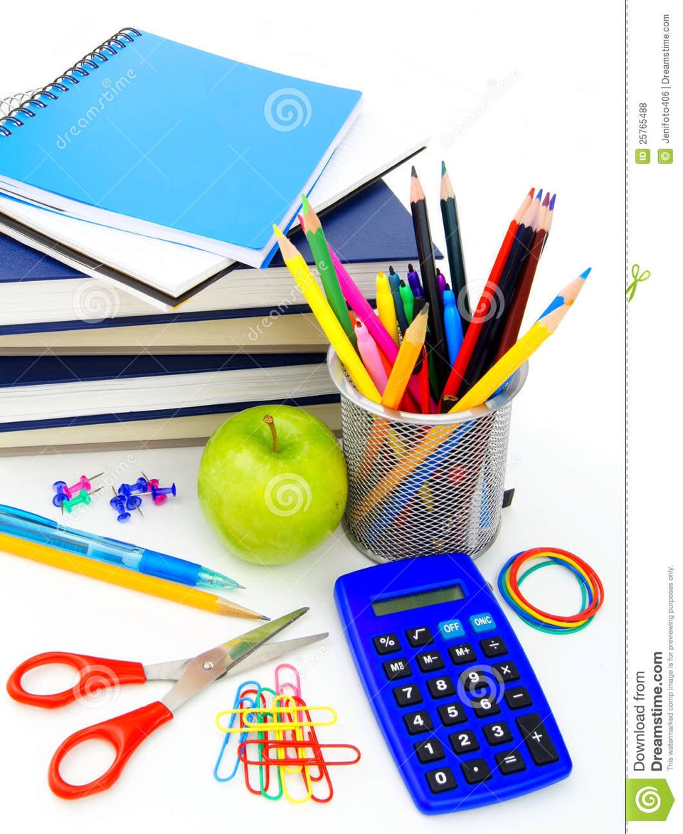 Now for the more random stuff:  Calculator for math Scissors, paper clips , rubber bands Glue or colored pencils (if needed)  White out, ruler, sticky notes, index cards, flash drive, planner, tape, mini stapler, hole punch