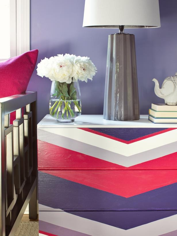 In a Day: Add a Chevron Pattern There's a reason chevron mania is here to stay: This pattern packs a serious visual impact. See for yourself by creating your own pattern on a basic flat-front dresser.