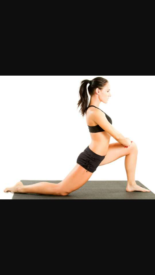 This strech also works wonders on your legs.  push your pelvis tawrds the floor.  try to do this on carpet or a Mat because doing it on hardwood hurts your knee