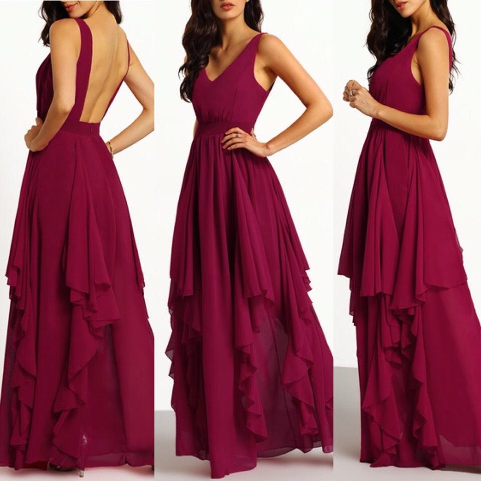 $36.00 http://m.romwe.com/Burgundy-Deep-V-Neck-Maxi-Chiffon-Dress-p-148105-cat-724.html