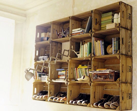 Old crates into shelving