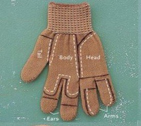 Start with a glove. Could be brown, black, or grey. Cut carefully in these areas.