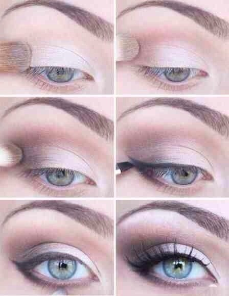 Like in the previous examples: - Flush the eye with a light shade - Define in a < shape the corner and crease of the eye a darker pink colour, extending it to a quarter of the lid. -Add slightly more definition lightly adding a darker colour in a < shape. -Line the eye -Add mascara