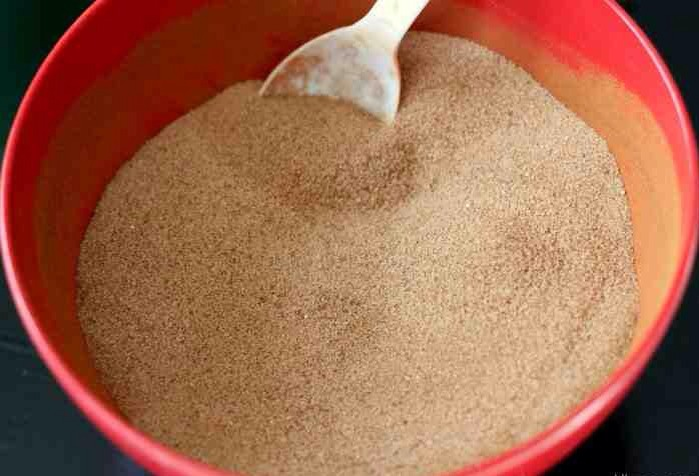 {Cinnamon/Sugar Mixture – I used 1 cup sugar and 1/4 cup cinnamon and mixed it together}