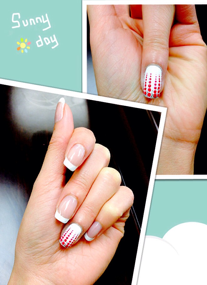 For cute looking nails, put the french on all the nails and polish the whole ring finger nails. Then start to apply the polkadots from the tips down to 2/3 of the nails