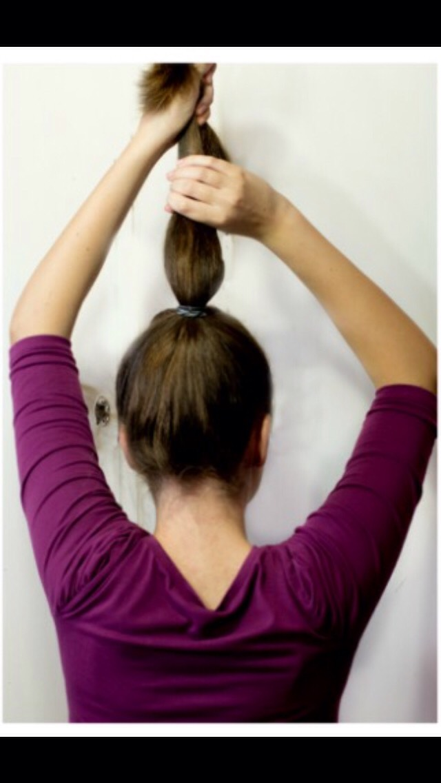 First, Start By Pulling Your Into A High Tight PonyTail. & Hold It At The Top.