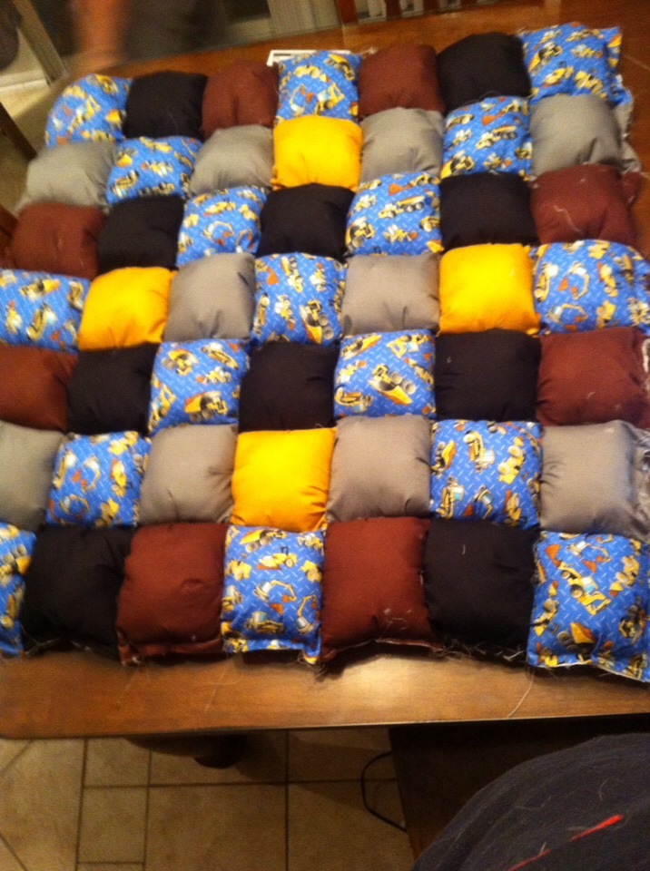 Puffy quilts are a great homemade gift.... Perfect to use for tummy time