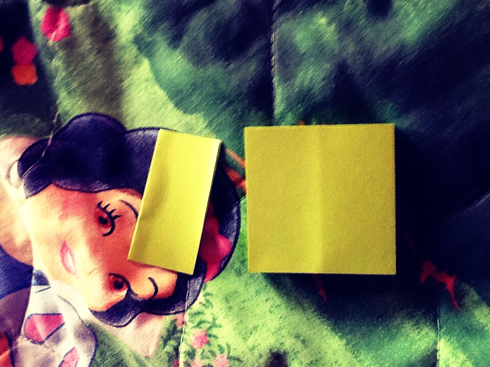 Fold a post-it by it's middle