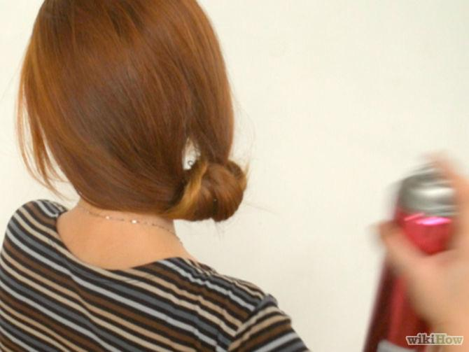 5. Use hairspray to keep your hair in place. Even when using very sturdy hairpins, chignons have a tendency to get a little while after a couple of hours. By spraying your chignon with hairspray, your hairstyle will last a good while longer. Use a strong formula for the best effects.