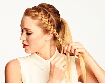 Section your bangs into one part and hold onto them. Put your hair In a bun or pony tail whichever it doesn't matter and then tie it off. Take the section you were holding and French braid it and the wrap it around your head until the end and then bobby pin it to keep it in place.