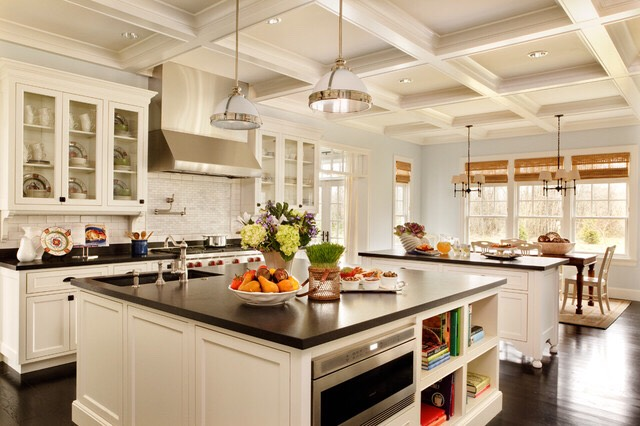 Add nice light fixtures or ceiling designs that will draw your guests attention up, which Will make your kitchen look taller and bigger.