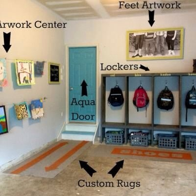 Not only does it organize some of the mess  in your garage it helps it not look so messy.  I would add a few shoe shelves for all those shoes that sit out there.