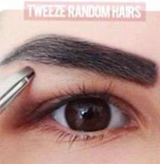 Step 5: Tweeze the brow hairs that are outside of the traced line.