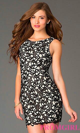 A-Line Black/White Dress