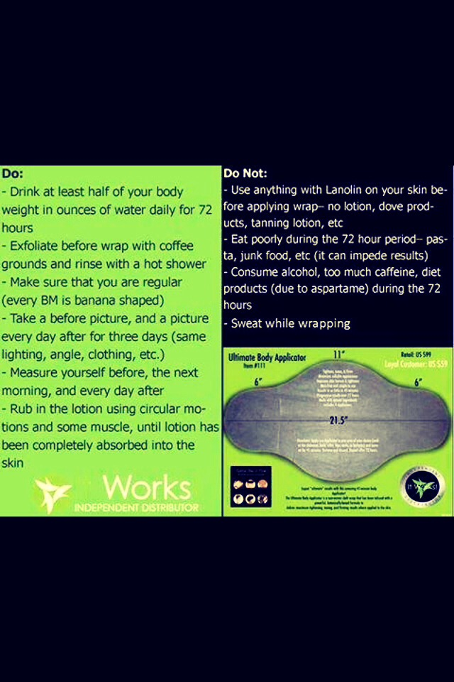 Contact Ashley call or text 313-244-5143 to find out more information!!! Or check out my website at ahernandezwraps.myitworks.com