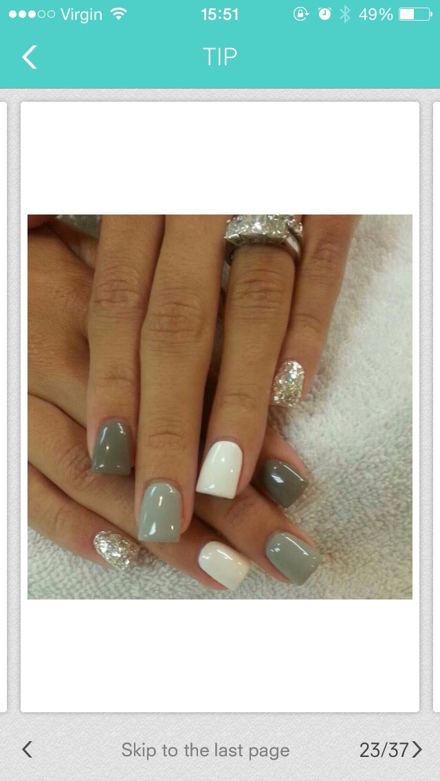 A lovely set of nails, very simple but with a little bit of glitter it really makes the nails looks very girly.
