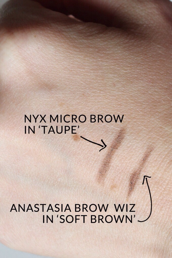 Most say this is a much cheaper dupe for the ABH brow pencil. It's retractable and comes with a spooley. Makes doing your eyebrows easy and mess free!