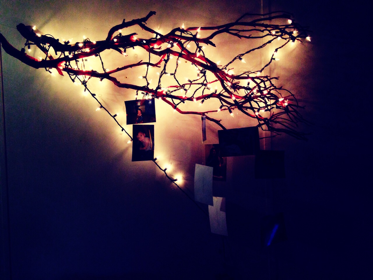 Pick up some old tree branches and spray paint them whatever color (I chose red) grab a tack and some fishing line and poke a small hole with the tack in the picture and string through the line  and wrap around lights if you choose. Finish with wrapping fishing line around the end to hang:)