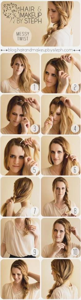 14. If you have thick hair, this chunky twist is a romantic variation on the side pony.