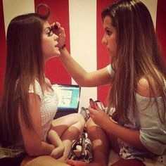 4. Do each other's makeup   Doing each other's makeup is a great way to gain each other's trust!
