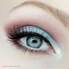 4) To brighten up the eyes, place Serenity (or any pastel blue) all over the lid and blend in a light brown in the outer corner.