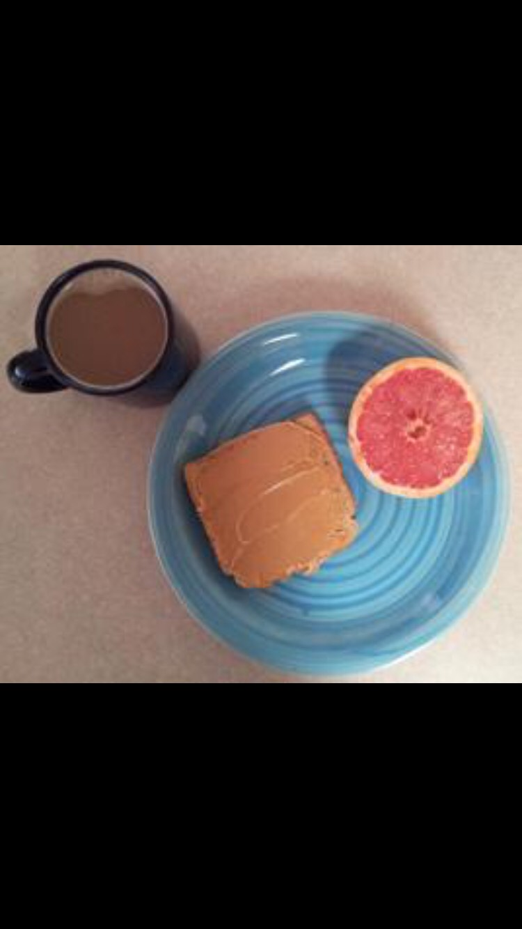(1/2) of a grapefruit (52 calories)     (1) slice of toast (67 calories)     (2) tablespoons of peanut butter     (188 calories)     coffee or tea