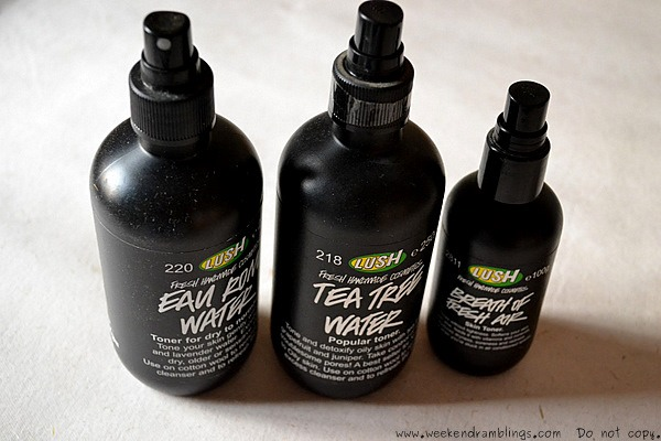 Lush toner waters are slightly different from the usual toners.  They are alcohol-free and work by providing a moisture boost to the skin.  These toners are packed with skin-soothing essential oils that help combat tiredness, dryness and blemishes.   Lush makes three of these: