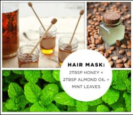Make a mint mask to stimulate hair growth. 2tbs honey, 2 tbs almond oil, and mint leaves. Leave on hair for 20 minutes and rinse!